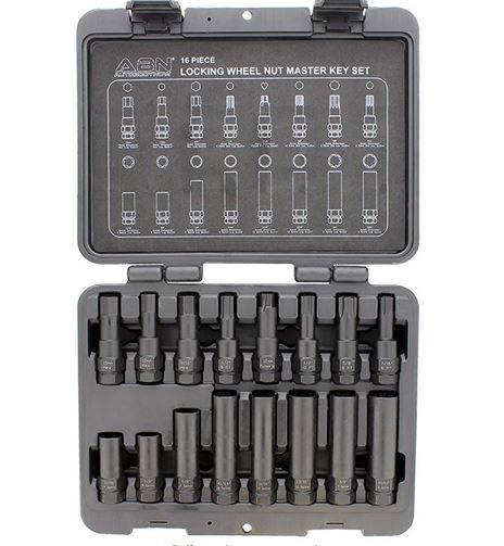 ABN/® Wheel Lock Removal Tool Kit Lug Nut Key Set Master Wheel Lock Key Set Lug Key Wheel Lock Removal Kit 16-Piece